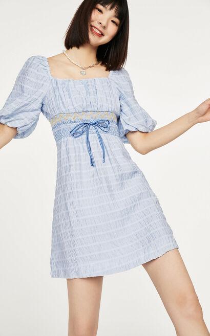 法式簡約泡袖格紋洋裝, 藍, large