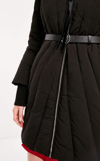 冬季新款羅紋領修身連帽羽絨服女|118312532, 黑, large