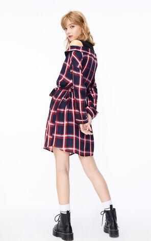 ONLY2019秋季新款格子假兩件露肩洋裝