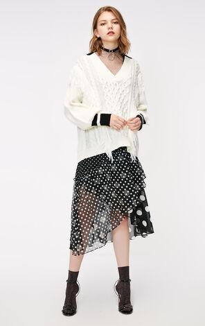 冬季新款拼色流蘇V領針織衫女|118325502
