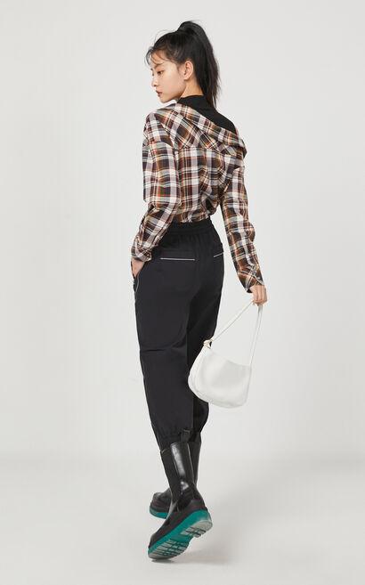 【2件8折】休閒針織拼接格紋襯衫, 白, large
