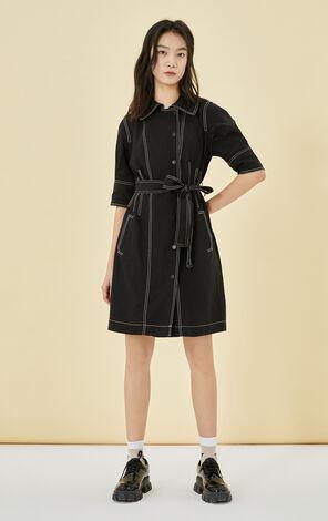 明線設計黑色收腰短袖洋裝