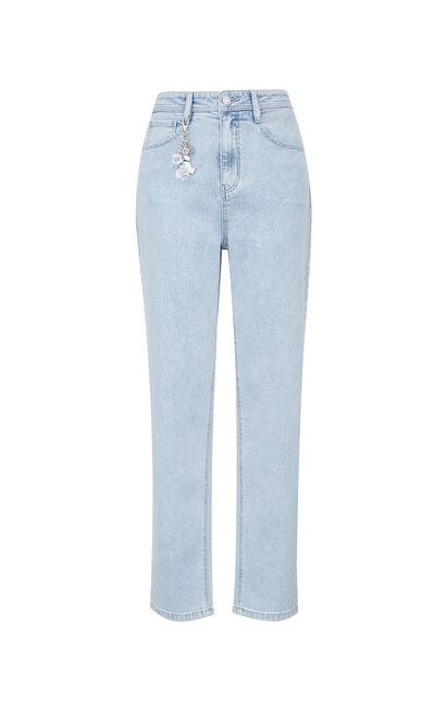 涼感高腰九分丹寧褲, 藍, large