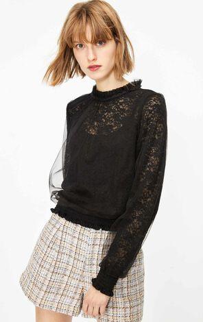 雙層網紗蕾絲透視長袖T恤
