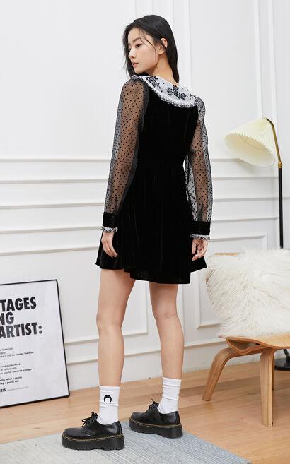 【春季新款】氣質波點透視修身洋裝, 黑, large