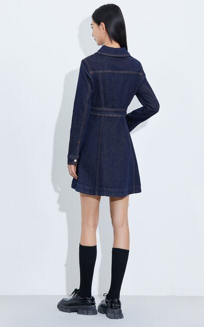 時尚修身顯瘦牛仔洋裝, 藍, large