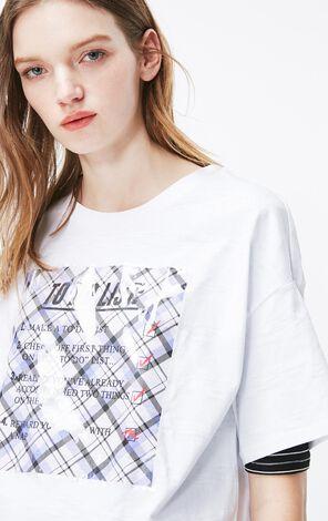白色格紋印圖純棉短袖T恤
