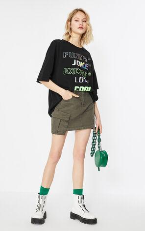 時髦鐳射字母印花百搭T恤