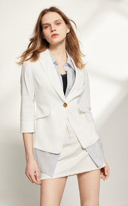 俐落薄款休閒西裝外套, 白, large