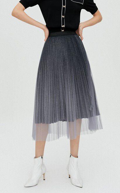星空光影漸層百褶紗裙, 藍, large