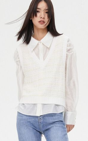 復古泡泡袖兩件式毛背心襯衫