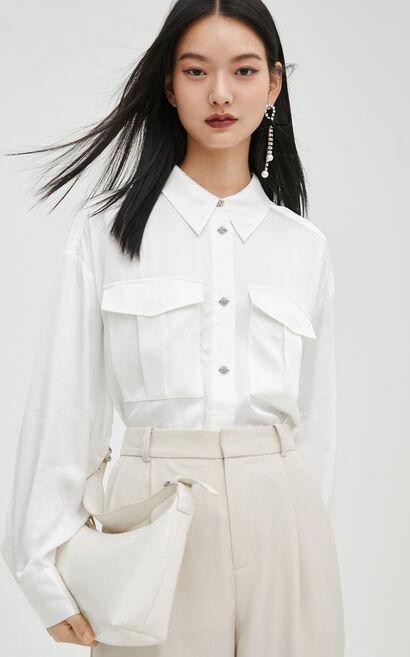 時尚氣質純色長袖寬鬆襯衫, 白, large