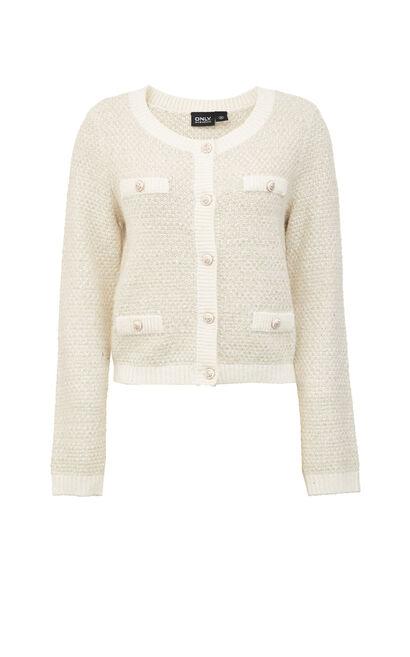 【冬季新款】甜美簡約開衫毛針織外套, 淺黃, large