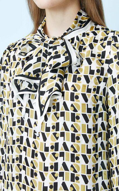 復古潮設計雪紡長袖襯衫, 杏色, large