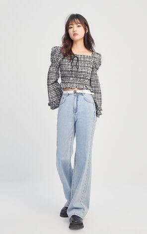 腰帶裝飾寬鬆微喇丹寧褲