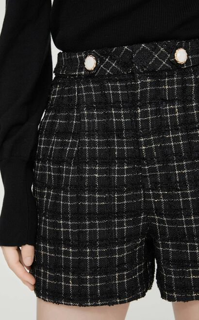 優雅經典格子高腰短褲, 黑, large