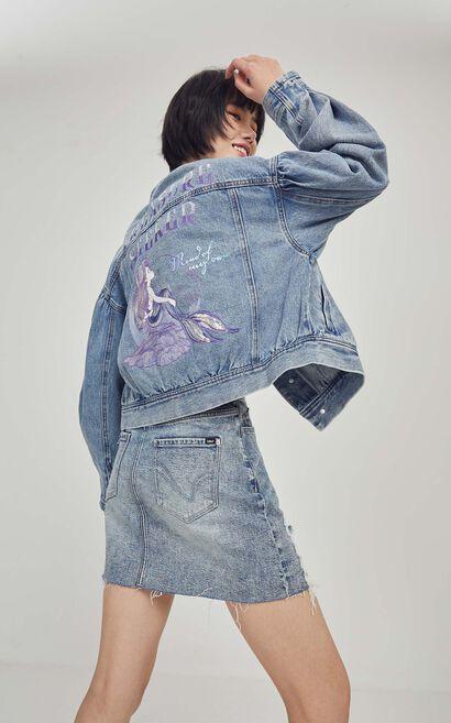 高腰A字毛邊丹寧短裙, 藍, large