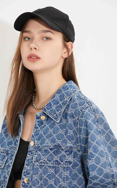 時尚摩登印花短版牛仔外套, 藍, large