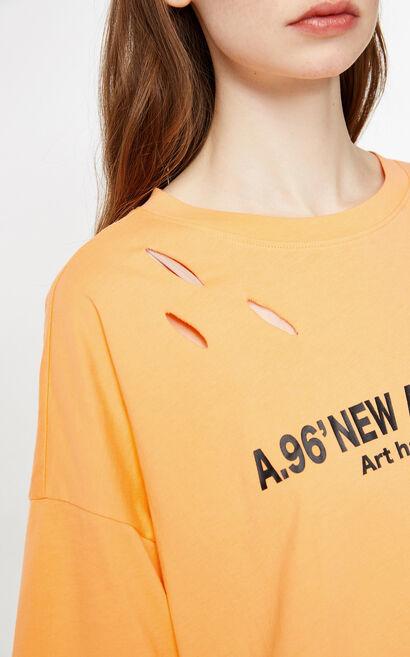 時尚字母印花短袖T恤, 桔色, large