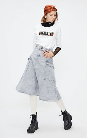 ONLY2019秋季新款白色豹紋英文字T恤 119330514