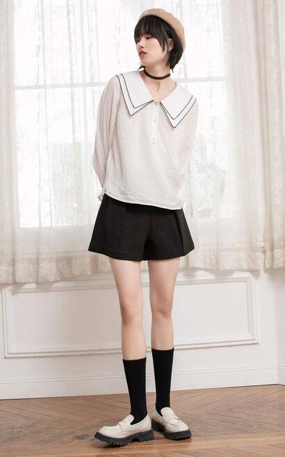 滾花邊娃娃疊領長袖襯衫, 白, large