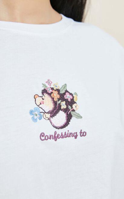 卡通刺繡寬鬆純棉T恤, 白, large