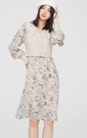 優雅迷人針織拼接洋裝