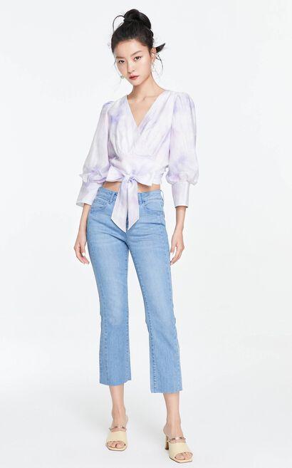V領氣質燈籠袖襯衫, 藍, large