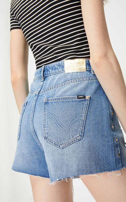 潮流鉚釘牛仔短褲, 水藍色, large