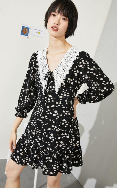 小雛菊花領繫帶短款雪紡洋裝, 黑, large