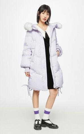 簡約保暖中長款連帽羽絨外套