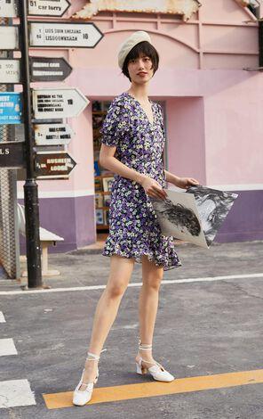【秋冬新款】復古碎花不對稱下擺設計洋裝