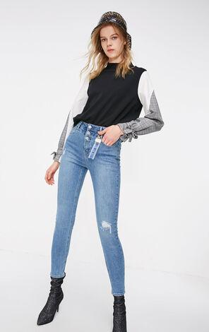 ONLY2019春季新款高腰顯瘦合身彈力牛仔褲 119132532