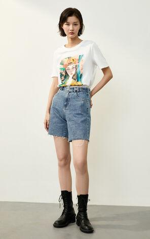 復古文藝印花純棉圓領短袖T恤