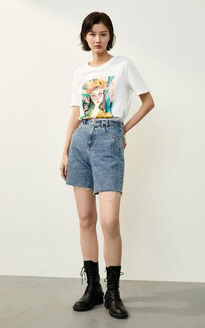 復古文藝印花純棉圓領短袖T恤, 米色, large
