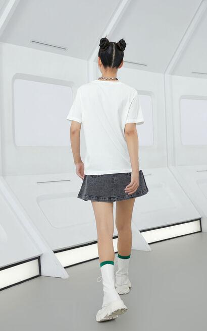 黑科技玻尿酸時髦印花上衣, 白, large