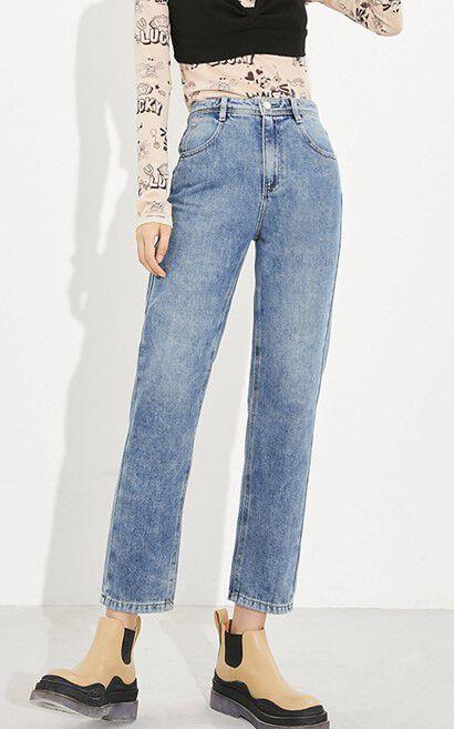 率性高腰寬鬆直筒抗菌面料牛仔褲, 藍紫色, large