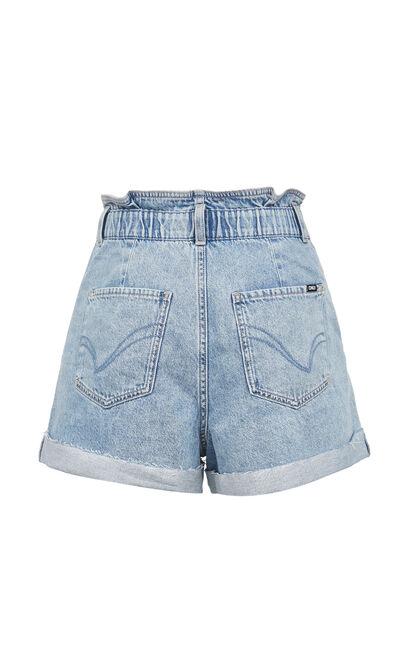 直筒捲邊牛仔短褲, 藍, large