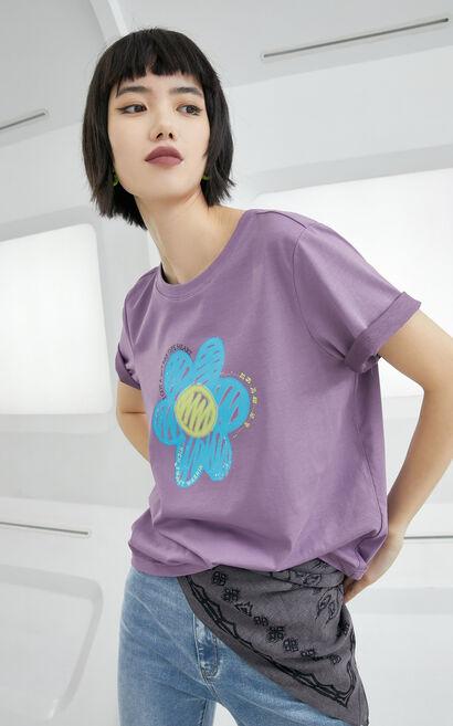 黑科技玻尿酸時髦印花上衣, 紫色, large