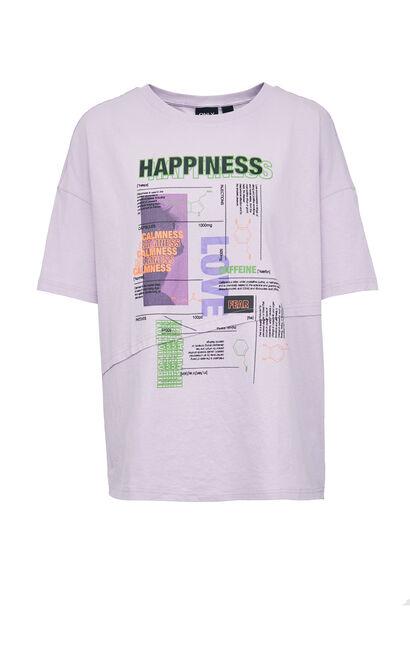 潮印花純棉中長款T恤, 薰衣草紫, large