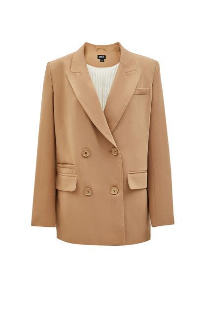 率性雙排扣3D字母設計西裝外套, 黃, large