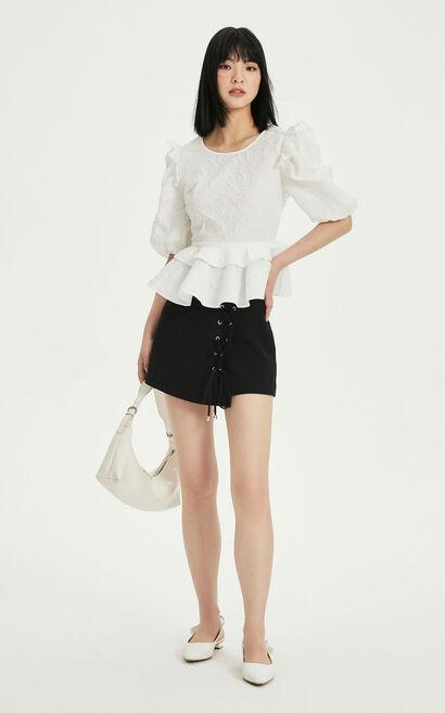 不對稱綁帶休閒短褲, 黑, large