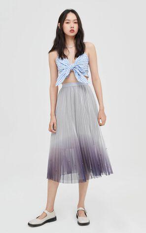 時尚優雅漸層色彩網紗百褶中長裙