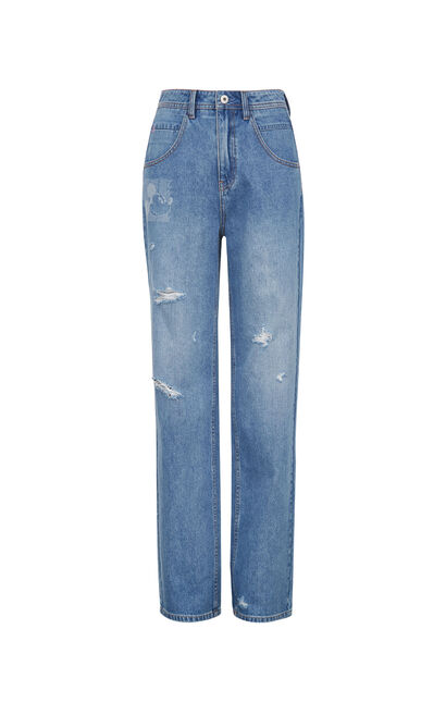 ONLY 迪士尼米奇合作款高腰寬鬆闊腿牛仔褲|120132532, 淺藍, large