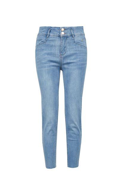 金屬紐扣輕薄七分丹寧褲, 藍, large