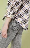 格紋設計潮感七分袖襯衫, 淺灰, large
