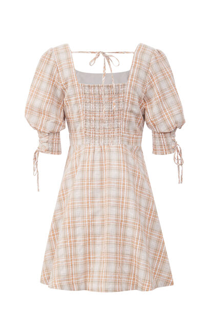 高雅收腰綁帶洋裝, 桔色, large