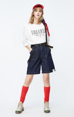ONLY2019秋季新款白色英文字寬鬆T恤|119330517