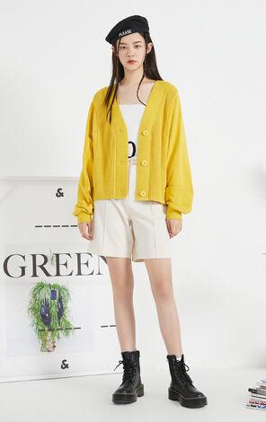 【秋冬新款】簡約純色紐扣門襟短版針織衫