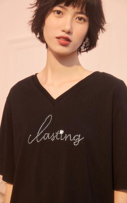 字母圖案後背鏤空短袖上衣, 黑, large